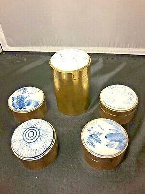Vintage Made In Thailand BLUE And White Porcelain Covered Round Brass Containers