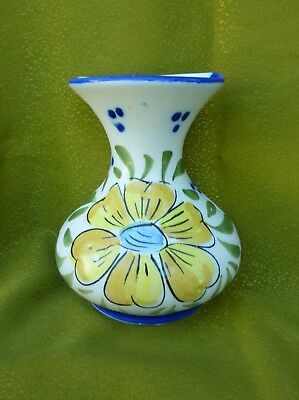 Vintage 60s Art Deco Ceramic Wall Pocket Vase Hand Painted Flower Collectible
