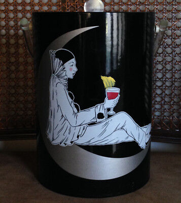 Vintage Harlequin Ice Bucket Faux Leather  Jester Tragedy Lucite Handle  11""