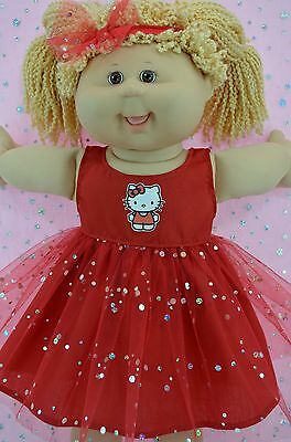 """Play n Wear Doll Clothes For 16"""" Cabbage Patch  RED SEQUIN DRESS~HEADBAND"""