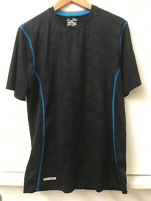 Under Armour Mens Heat Gear Black Blue Stitch Short Sleeve Fitted Shirt Size M