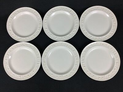 "Wedgwood Queensware Cream on Cream SIX (6) 8 1/4"" Salad Plates Smooth Edge"