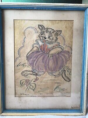 Vintage Artist Signed Pen Ink Pastel Rare Original Drawing Edna Lewis Cat Print