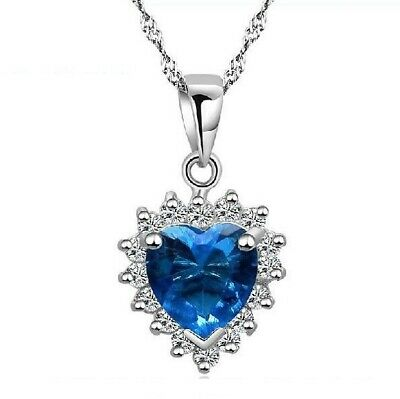 Titanic Heart Of The Ocean Pendant 925 Sterling Silver Necklace Womens Jewellery