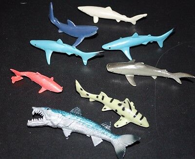 Shark Lot 8 Plastic Pieces Set Ocean Dwellers Tiger Great White  --ZZ=