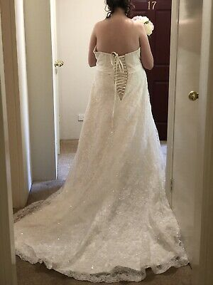 Princess Ivory Wedding Dress Lace Up Size 20 to 24 by Crizzy Bridal Strapless