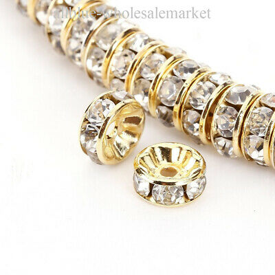 6mm 100PCS Gold Rondelle Spacer Beads Rhinestones Czech Crystal Round TOP AAA+++