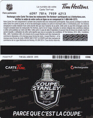 Tim Hortons gift card FD40775  no value in french