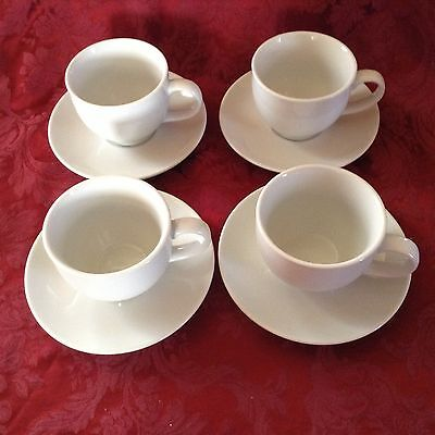 POTTERY BARN GREAT WHITE four Cups & Saucers