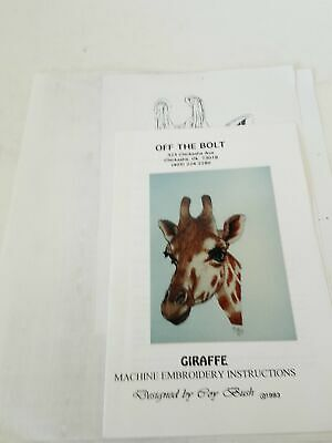 Off The Bolt Giraffe Machine Embroidery Instruction