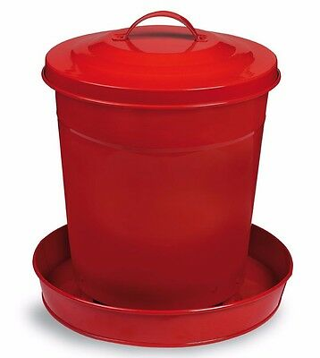 NEW 6kg GLOSSY PAINTED METAL BUCKET POULTRY FEEDER w/LID (CHOOK Hen CHICKEN) RED