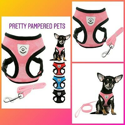 Chihuahua Harness and Leash Lead Set Harness Coat Small Pets Light Pink