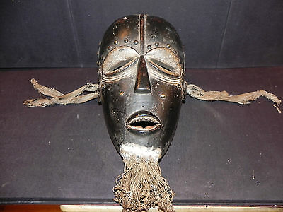 "Arts of Africa -  Authentic Bete Mask - Studs - Pigment - 13"" Height x 7"" Wide"