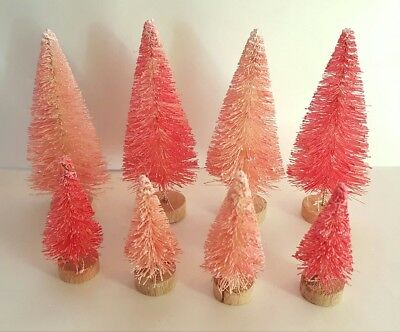LOT of 8 Mini Miniature RED & PINK Sisal Bottle Brush Christmas Flocked Trees
