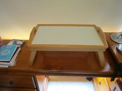 Wooden Lap Tray Breakfast in Bed Serving with Folding Legs Table Mate Wipe Plate