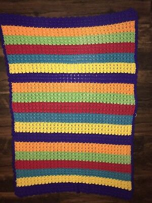 "Color Block Crocheted Afghan Rainbow Blanket 68"" x 46"" Handmade Purple Turquoise"