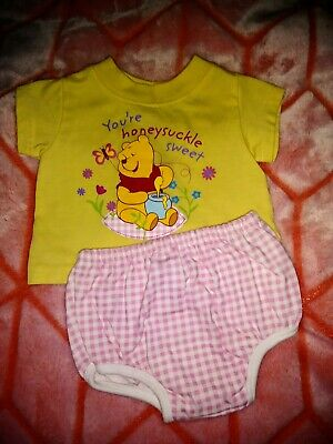 DISNEY 'WINNIE THE POOH' T-shirt & Shorts Set Infant Girls 3/6 months