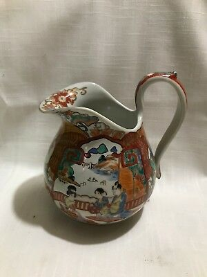 19th c Chinese Export Famille Rose Medallion Scenic Pitcher Mark