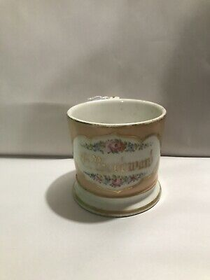 Rare Antique Shaving Mug Old Gold Script Peach 19c