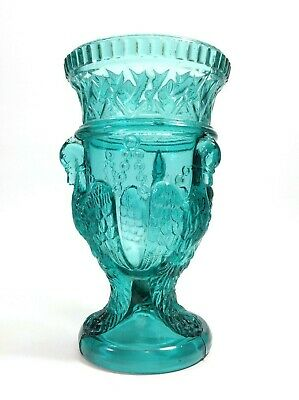 Antique Chained Gryphon Uranium Glass Vase Edward Moore & Co