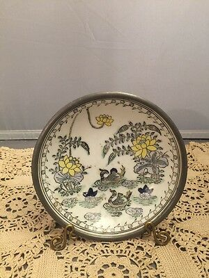 YT Japanese Porcelain Wares Hong Kong Canton Metal Case Bowl Dish
