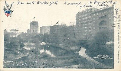NEW YORK CITY – Central Park Swan Lake Private Mailing Card (1898-1901)