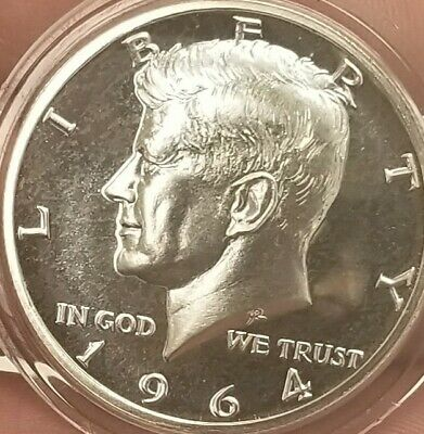 1964 Accented Hair Kennedy Silver Half Dollar Proof Uncirculated CAMEO