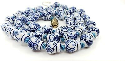 Vintage Chinese Blue & White Porcelain Ming Dynasty style Pattern Beads Necklace