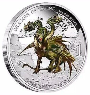"2013 Tuvalu ""Dragons of Legend"" Colorized 1oz .999 Silver Proof Coin - Box & COA"