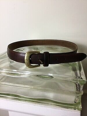 VINTAGE Western Brown genuine OIL TANNED COWHIDE Belt with SOLID BRASS BUCKLE 34
