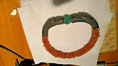 Antique chinese silver coral stone bangle bacelet