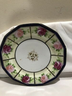 Antique Nippon Large Cabinet Plate Hand Painted Roses Cobalt Blue Heavy Gold
