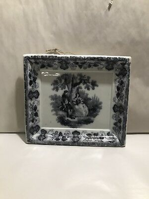 Antique Black Transferware Mulberry Wall Plaque Picture Hanging Romantic Scene