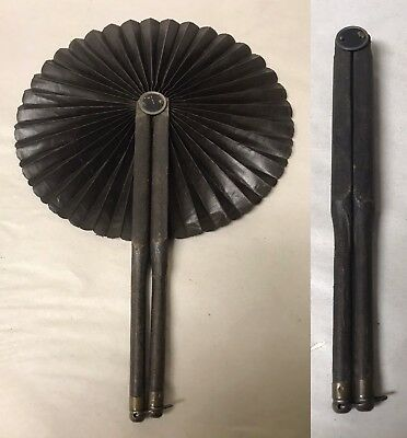 Antique Leather Wrapped Folding Round Hand Fan 19Th Century