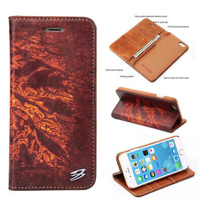 New Genuine Leather Folio Flip Wallet Card Case Cover For Apple iPhone 6S 7 Plus