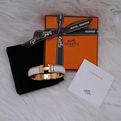 feadff5fa63a1 Bnib New Hermes Clic H Enamel Bangle Bracelet Marron Glace Chestnut Rose  Gold Gm