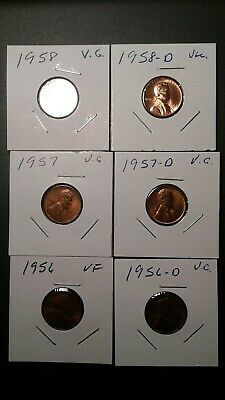 1956 1957 1958 PD Lincoln Cent Pennys vg.