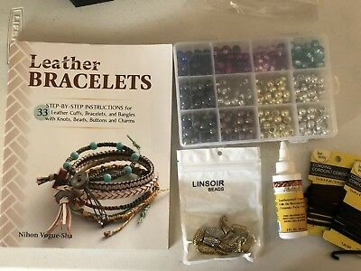 Leather Bracelets How-To Book, Beads, Snake Clasps, Glue, Leather Craft Set!
