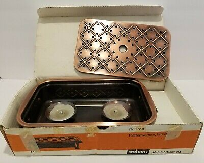 Stockli Netstal Svizzera Bruniert Swiss Hot Food Warmer Candle Plate Nr. 7592