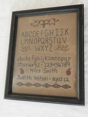Repro Primitive Sampler ABCs  Miss Smith Cloth Framed