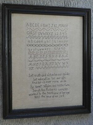 "Repro Primitive Large Sampler Framed ABCs Folk Art  23"" by 19"""