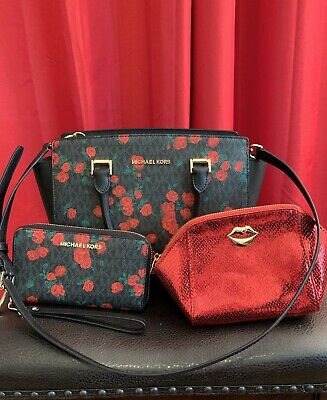 0287c1d9b78f77 MICHAEL KORS Selma MK Signature Black Bag Red Rose Medium Satchel Purse Bag