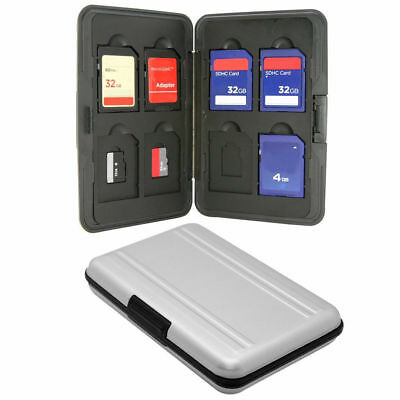 Silver Aluminum Memory Card Case Holder 16 Slots (8 8) For Micro SD SDXC