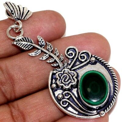 X34040 Malachite 925 Sterling Silver Plated Pendant 2.8""