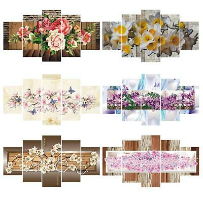 5Pcs Modern Flowers Canvas Print Art Painting Home Decor Wall Picture unframed