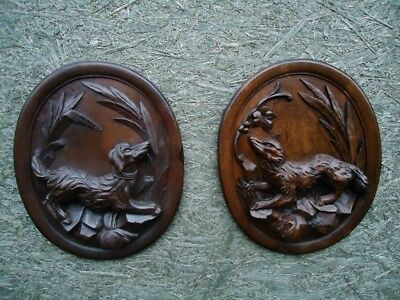 Antique Black Forest Carved Wood Wall Plaque-Pair Wood Carving-Fox-Hounds-Rare