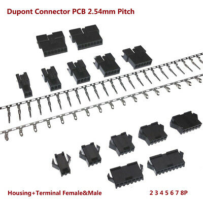 Dupont Connector PCB 2.54mm Pitch SM 2 3 4 5 6 7 8P Housing+Terminal Female&Male