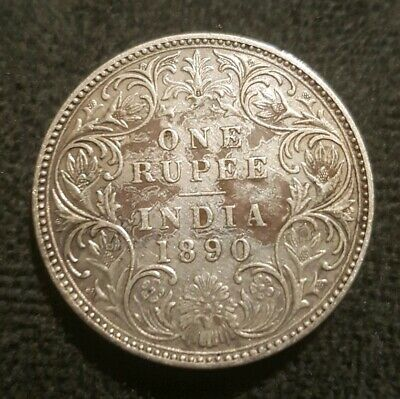 1890 India One Rupee VF (Dirty) 0.900 Silver