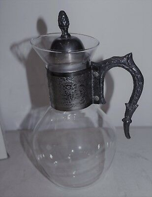 Vintage Silver Plate Glass Coffee Tea Beverage Carafe L#1633
