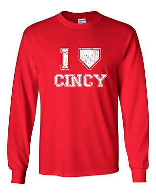 007 I Love Cincy homeplate ohio sports Long Sleeve Shirt cincinnati baseball new